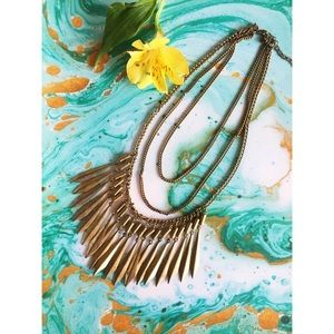 H&M Brushed Gold Bib Necklace